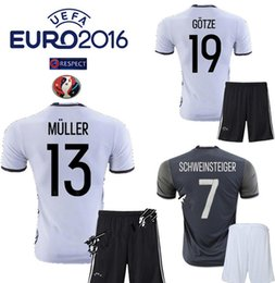 Wholesale 2016 Euro Deutschlan Muller Jersey Home Away Germany Soccer Jerseys Sets SCHWEINSTEIGER OZIL Gotze Reus Kroos Neuer HUMMELS Football Kits