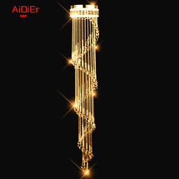 Wholesale Modern minimalist Europestairs light K9 crystal chandelier lamp long Villa clubs hanging line lighting living room lighting
