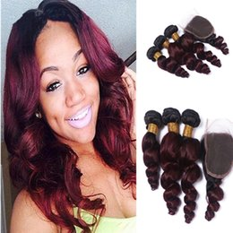 Burgundy 1B 99J Dark Root Ombre Hair With Closure Wine Red Loose Wave Ombre Hair Weaves With Two Tone Lace Closure 4Pcs Lot