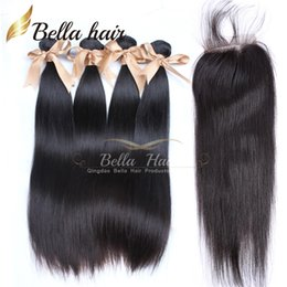 Full Head 4PCS Malaysian Hair Extensions with 1PC Lace Closure Free Part Natural Color Hair Weaves Silky Straight Bellahair 8A