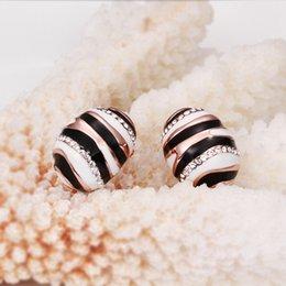 Wholesale Brand new sale pairs k k rose gold gemstone bee earrings DFMGE547 factory direct women s rose gold crystal Stud