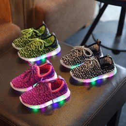 Wholesale 2016 New led kids sport shoes Running Snakers kanye west boost black grey Childrens Fashion sport top quality Shoes