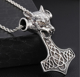 Punk Rock Fashion Gift Heavy Huge Biker Stainless Steel Large thor Dog Pendant HammerFall Rope Necklace Men Gothic Jewelry