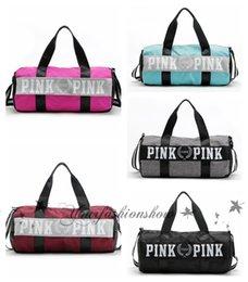 Wholesale Fedex DHL Free Fashion Women Handbags Love VS Pink Large Capacity Travel Duffle Striped Waterproof Beach Bag Shoulder Bag Z517