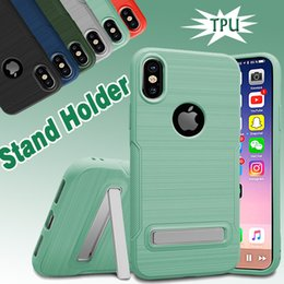 Brushed Hybrid Armor Case With Stand Holder TPU Shockproof Protective 2 in 1 Skin Cover For iPhone X 8 7 Plus 6 6S Samsung Note 8 S7 Edge