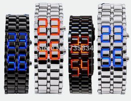 Wholesale Mix colors NEW Metal Lava Style LED Iron Samurai Watch Men Women styles fashion classic watches LL001