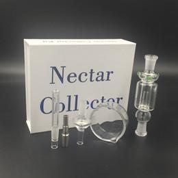 Ongles en verre pour l'huile à vendre-10mm 14mm 19mm Nail Kit Concentré Nectar Collector Set Honeystraw avec support en acier inoxydable Nails Verre plat Rigs Huile Bong en verre en verre