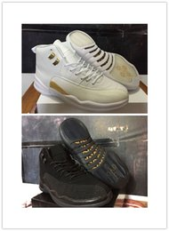Free shipping 2016 new high quality air retro 12 basketball shoes OVO white balck french Blue sneaker Boots online us size 8-13