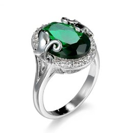 Brand Gemstone Rings 18K Real Gold Plated Statement Women Silver Engagement Rings Austrian Green Crystal Rings