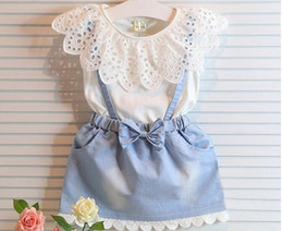 2016 Children Set Kids Suit Outfits Girl Dress Summer Lace White T Shirts Baby Denim Skirt Kid Dress Suits Child Clothes Kids Clothing