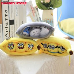 Wholesale 25cm Creative plush toy cute cartoon Totoro SpongeBob Minions small pea pod banana doll pendant birthday gift