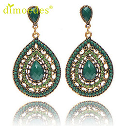 Wholesale Best Deal New Diomedes Style Women Vintage Bohemia Drop Earring Resin Beaded Heart Vintage Earrings Jewelry Gift W040