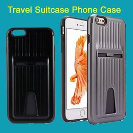 for iPhone 5 6S Plus 7 7plus Fashion Travel Suitcase Luggage Phone Case Plastic PC +TPU Hard Cover Shell with Card Slot DHL Free SCA143