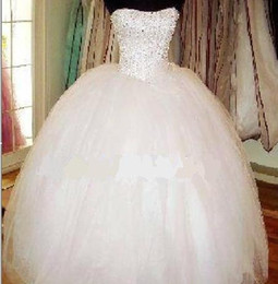 Strapless Beaded Tulle Ball Gown Wedding Dress 2019 Floor Length Bridal Gowns Lace Up Custom Made