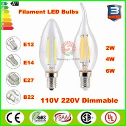 Wholesale Edison Filament led lights dimmable Led Candle Bulbs W W W Led light E14 E12 E27 B22 led candelabra bulb v v