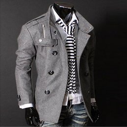 2016 c's Gray Slim Hot Stylish Woolen Jacket Double Pea Trench Coat Fashion Jackets 3300