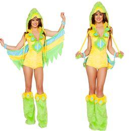 Wholesale DHL Halloween costumes game uniforms Cosplay seduction green birdie animal cosplay uniform female women new