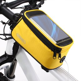 Wholesale Roswheel Bicycle Cycling Front Top Tube Frame Bag Pouch Transparent PVC Bike Bags with Audio Extension Line for quot Cellphone