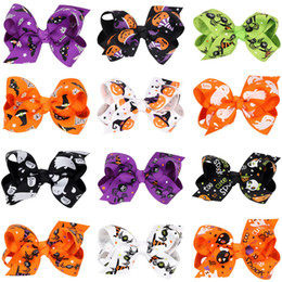 Wholesale Flower pumpkin hairbows Barrettes girls hairclip Boutique Bowknot Hairpins hair accessories halloween gift Free Shippng