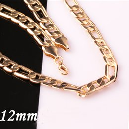 Fashion 12MM Men's 18K Gold Plate Chain Choker Jewelry Lobster Clasp Flat Figaro Chunky Necklace BF Gifts Freeshipping