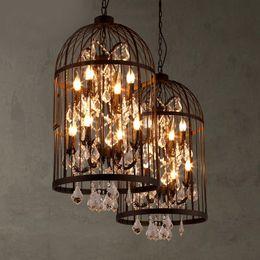 Wholesale Loft Vintage American Rural creative chandelier clothing store restaurant iron pendant light crystal decorate birdcage pendant lamp