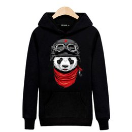 Long Sleeve Cotton Hooded Sweatshirts Men Autumn and Winter Japanese Skateboard Streetwear Fashion Panda Print Hip-hop Fleece Hooded Sweater