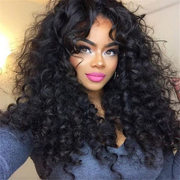 Hot Sale 150% density full lace wig Glueless Brazilian Human hair long Curly lace front wigs for black women