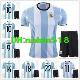 Wholesale 2016 Argentina soccer Jersey kits MESSI home DI MARIA AGUERO best quality Argentina football shirt jersey