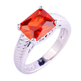 Factory Direct-Selling Fashion Jewelry HandMade Red Garnet 18K White Gold Plated Silver Ring Size 10 Free Shipping Wholesale