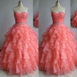 Real Sample High Quality Watermelon Prom Dresses A Line Ruched Ruffles Organza Corset Floor Length Evening Quinceanera Gowns Crystals Sash