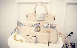 2016 Simple fashion hit color stitching handbags of female bag lady girl 6pcs   lot serpentine crocodile pattern shoulder bag big