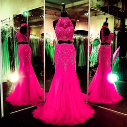 Red Royal Blue Fuchsia Long Lace Crystal Rhinestones Beaded Mermaid Prom Dresses Two Piece Evening Gowns Formal Party Pageant Dresses