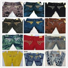 Wholesale New Arrivals Mens Robin Jeans Designer Men Jean Cowboy Male Denim Pants with Eagle Wings Trousers Men s Plus size B0161