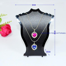 Wholesale 12pcs lot Plastic Jewelry Display Neck Bust Pendant Necklace Stand Holder Rack Mini Size