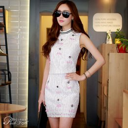 Wholesale Pink Doll New Women Midiskirt Casual All Match Lace Set Drill Elegant Pleated Skirt with Solid Beaded Motif Dress