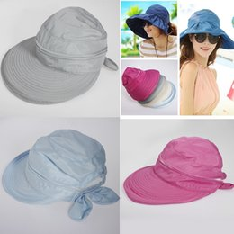4 Colors Summer Fashion Women's Anti-UV Wide Brim Cap Girl Casual Bowknot Beach Hat Ladies Foldable Sun Hats