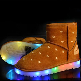 Wholesale Winter Boots For Women LED Shoes Black Yellow Light Up Shoes Luminous Women USB Charging Colorful Glowing Shoes Short Floss Snow Boots