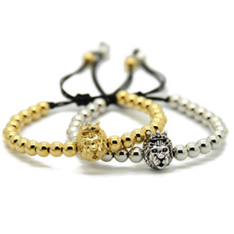 2016 New Design 6mm Real gold Plated Round beads Gold and Silver Lion King Head Braiding Macrame Mens Bracelets