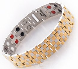 High quality 2016 new fashion stainless steel 18k gold black magnetic germanium bracelet with health care powerful