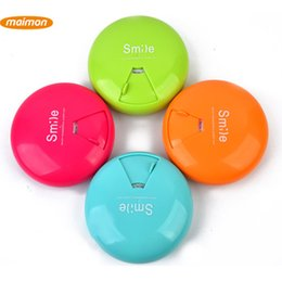Wholesale 100pcs Rotating Mini Pill Box Organizer Plastic Vitamin Tablet Storage Container Case With Retail Packaging Box