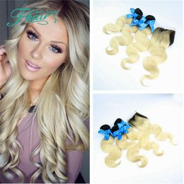 8A Quality Peruvian 3 Pcs Ombre Hair Extensions With Closure Human Hair Body Wave Two Tone Color #1B 613 Free Shipping DHL