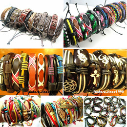 Wholesale mixed different styles surfer cuff ethnic tribal leather bracelets fashion jewelry