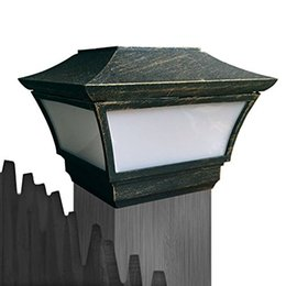 Wholesale CHEEKON BE Solar Cast Aluminum LED Post cap Light Bronze Crystalline Solar Panel Rechargeable Battery Included