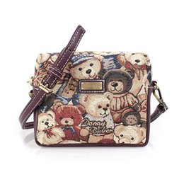 Wholesale 2016 Brand new little bear canvas shoulder bag for women girl vintage lady cross body bags hot sale flap bag