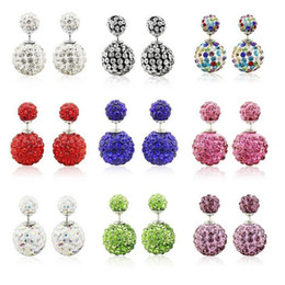 Top Grade Silver Earring Hot Sale Fashion Shambhala Double Ball Stud Earrings For Women Girl Jewelry wholesale Free Shipping 0264WH