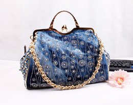 Wholesale New Fashion Hasp Shine Denim Appliques bolsa feminina Wowen Jeans Women HandBags Evening Bags Totes For Lady s Shopping