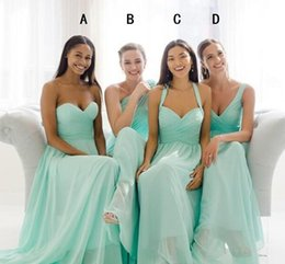 New Teal Mint Green Long Chiffon Bridesmaid Dresses Summer Beach Wedding Party Gowns Ruched robe de soirée Plus Size Evening Dress