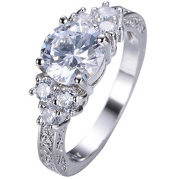Size 4-12 Sterling Silver Rhodium Wedding Engagement Three Stone Ring Anniversary Statement CZ crystal Cocktail Cluster