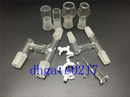 18mm&14mm 90 degree Oil Reclaimer Glass Adapter for Glass Bongs Water Pipe Comes with glass jar head, and keck clip free shipping