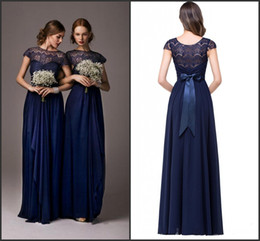 Wholesale Dark Navy Cheap Bridesmaid Dresses A Line Hot Lace Chiffon Long Maid of Honor Gowns with Bow Belt Wedding Party Wear CPS210
